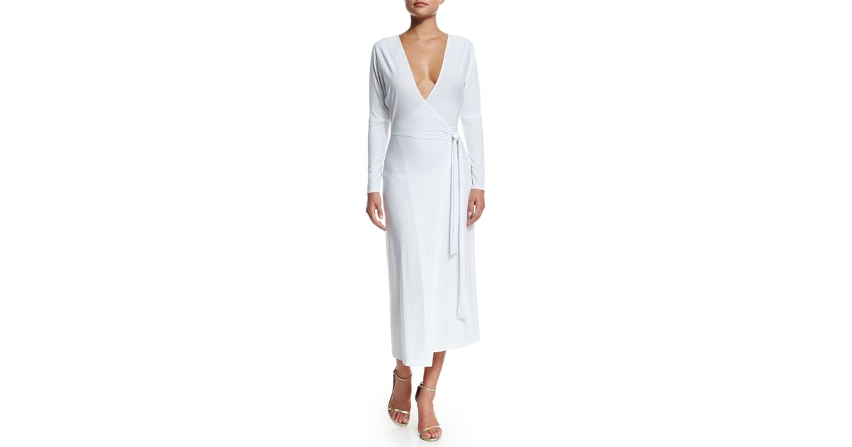 8c622550446f15 Norma Kamali Dolman Front Back Coverup Wrap Dress in White - Lyst