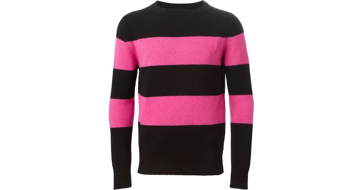 Lyst - Saint Laurent Striped Sweater in Black for Men f955f0bba