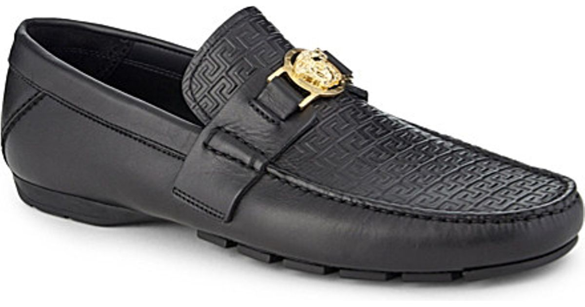 20be242e162 Lyst - Versace Greco Medusa Leather Driving Shoes in Black for Men