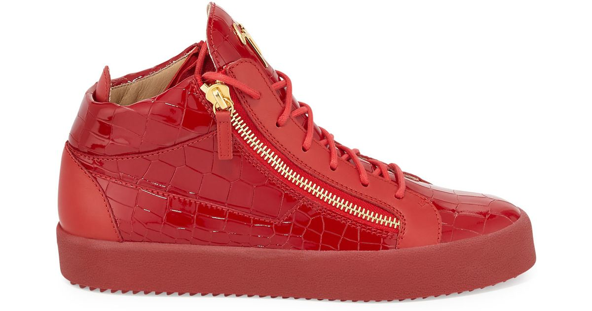 Giuseppe Zanotti Men S Crocodile Embossed Leather Mid Top