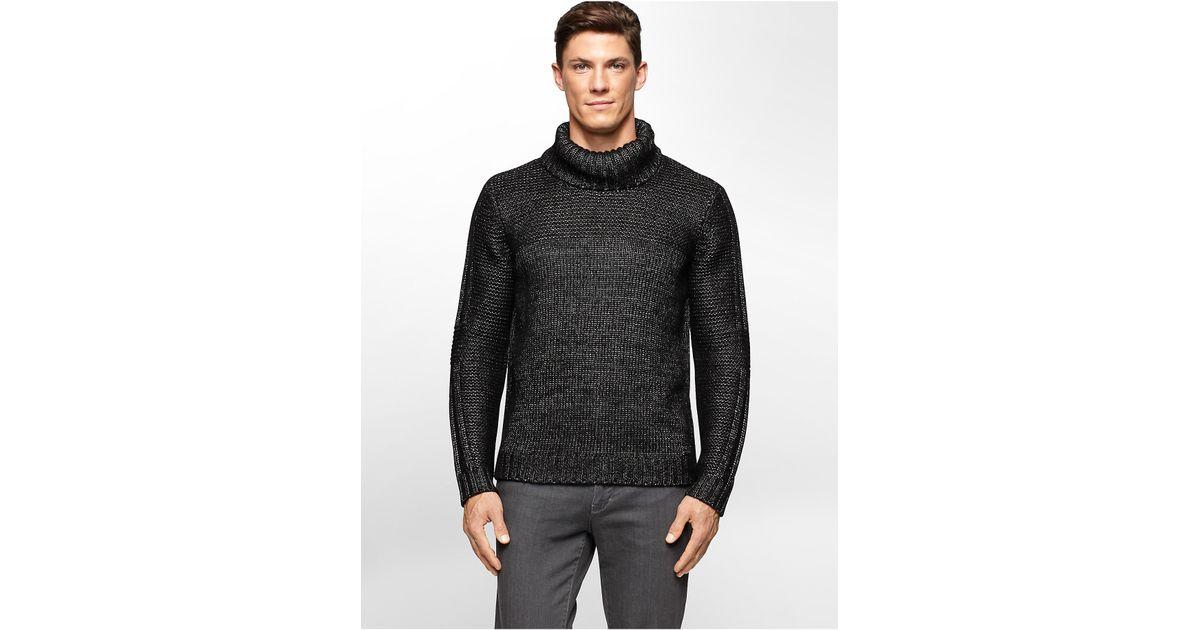 Lyst - Calvin klein Mockneck Knit Sweater in Black for Men