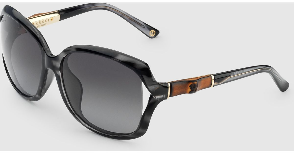 86b2759b4fdfa Gucci Specialized Fit Tortoiseshell Bamboo Sunglasses in Black for Men -  Lyst