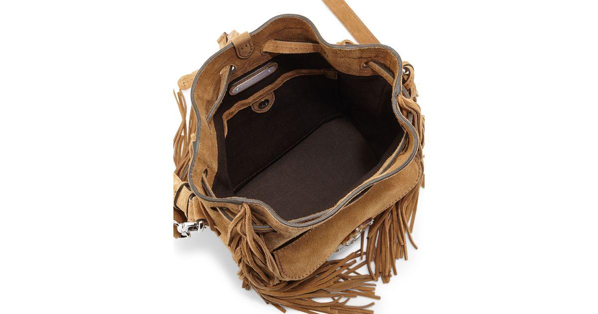 7fefa3f46733 Lyst - Ralph Lauren Ricky Fringed Bucket Bag in Natural