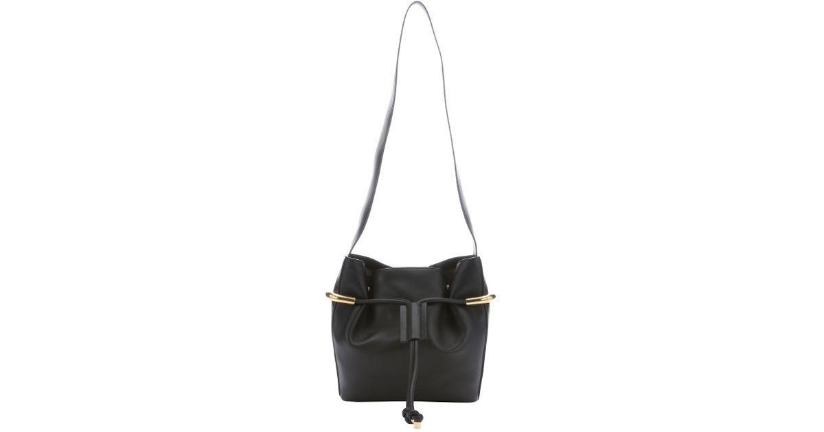 Chlo�� Black Leather \u0026#39;emma\u0026#39; Drawstring Shoulder Bag in Black | Lyst