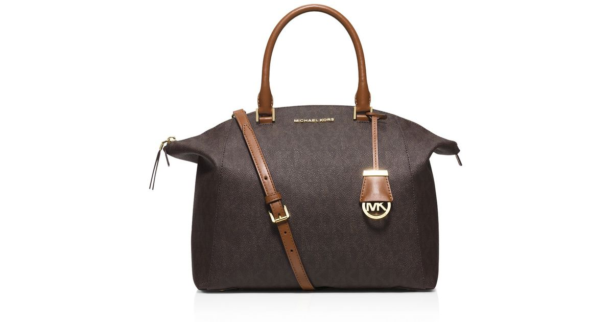 0efd181e87ca MICHAEL Michael Kors Large Riley Mk Shadow Satchel in Brown - Lyst