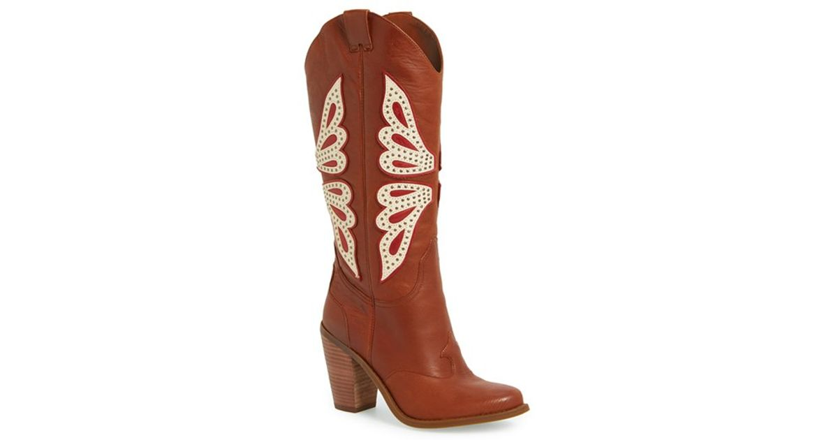 df664567169a Lyst - Jessica Simpson Caralee Western Leather Boots in Brown