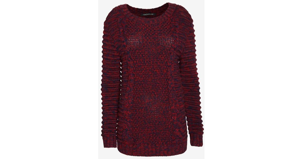 Lyst Timo Weiland Moto Sleeve Cable Knit Sweater In Red