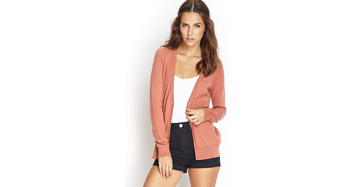 Forever 21 Classic Cardigan in Pink | Lyst