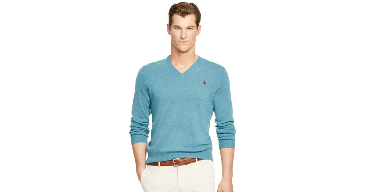 4429fa92f Polo Ralph Lauren Wool V-neck Sweater in Blue for Men - Lyst