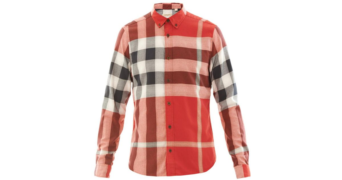 9df80951d79e Lyst - Burberry Brit Fred Flannel Tartan Shirt in Red for Men