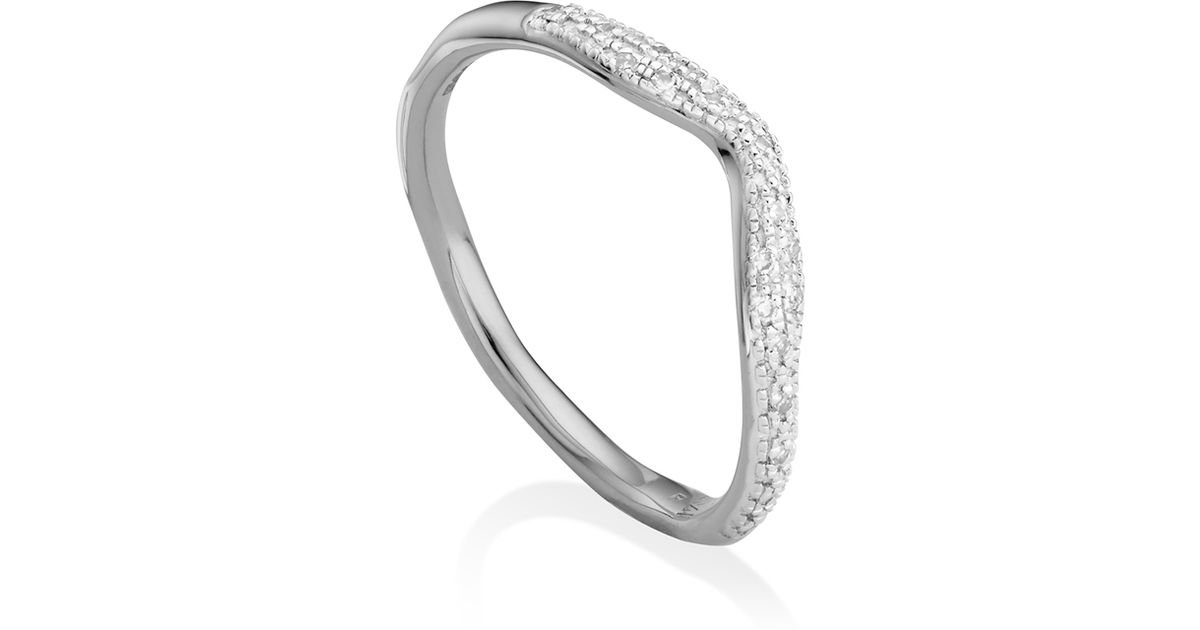 Sterling Silver Riva Wave Cross Ring Diamond Monica Vinader doCWfTGOwW