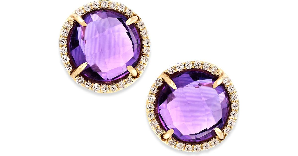 macy s amethyst earrings lyst macy s amethyst 3 ct t w and accent 4360