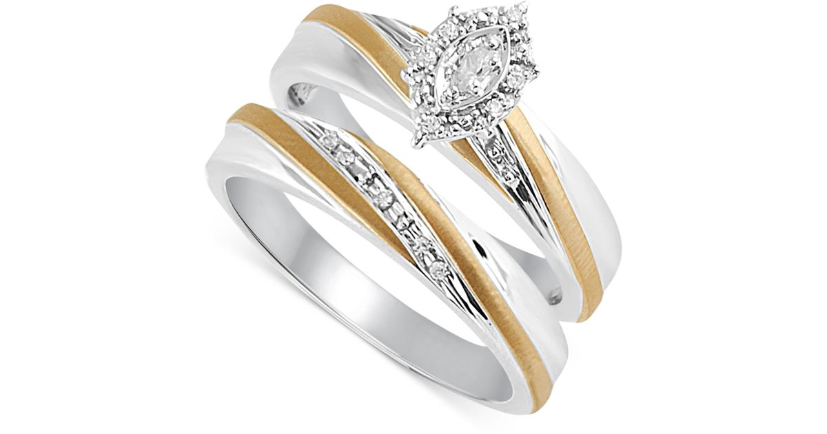 Beautiful beginnings Diamond Accent Engagement Bridal Set In 14k Gold And Ste