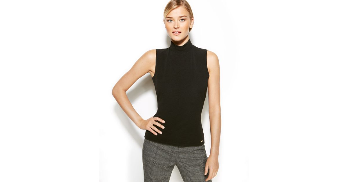 Calvin klein sleeveless ribbed mock turtleneck in black lyst for Sleeveless mock turtleneck shirts