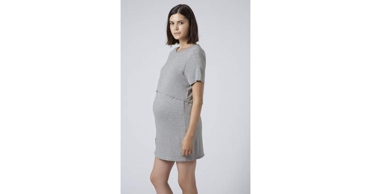 82cee496f9038 TOPSHOP Maternity Sport Jersey Overlay Dress in Brown - Lyst
