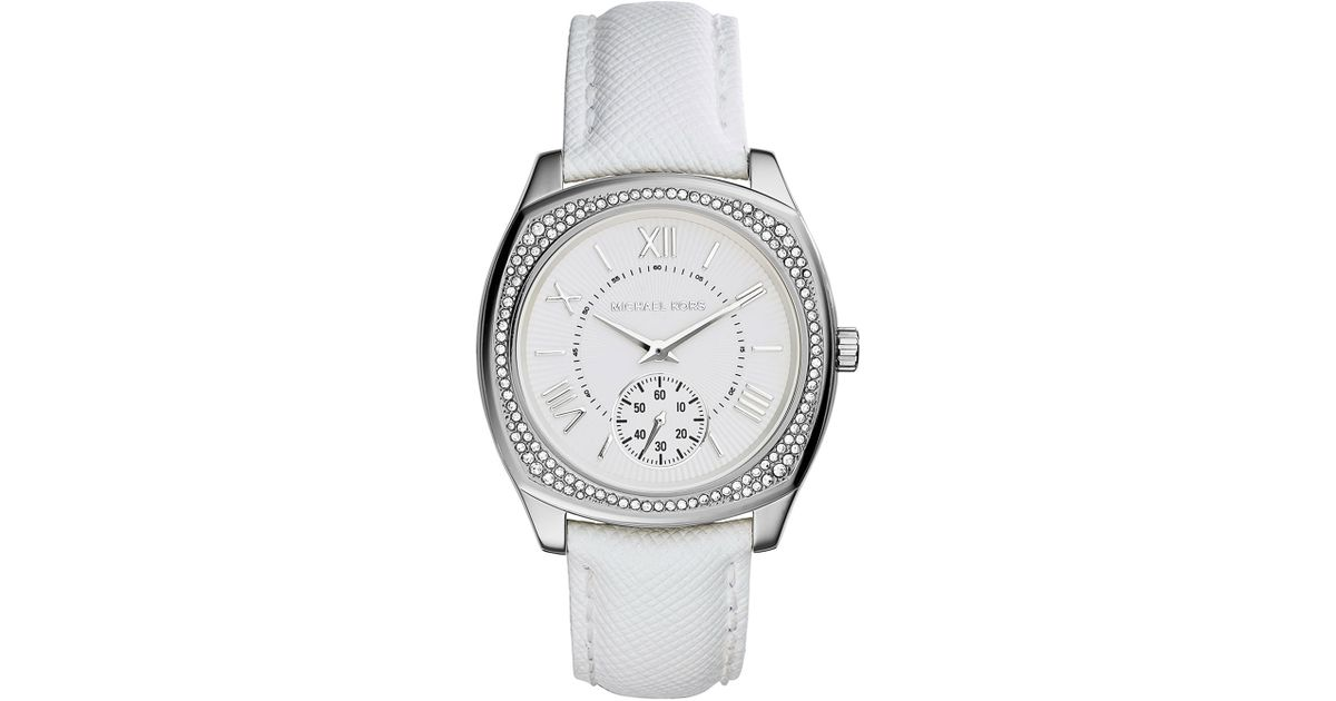 9be290b60ddf Lyst - Michael Kors Bryn Stainless Leather-Strap Watch in White