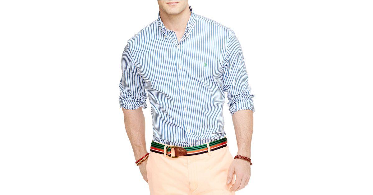 0204e79f81 Polo Ralph Lauren Bengal-Striped Poplin Shirt in Blue for Men - Lyst