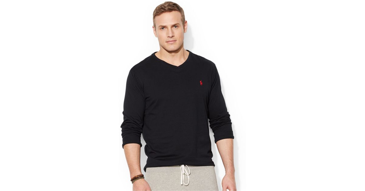 96a4859d Polo Ralph Lauren Big And Tall Long-Sleeve V-Neck T-Shirt in Black for Men  - Lyst