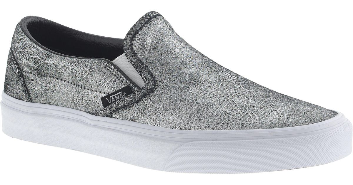 Lyst - J.Crew Unisex Vans Classic Slip-on Sneakers In Metallic Silver  Leather in Metallic 1f7c2a7f4