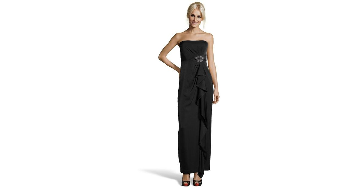 Lyst - Bcbgmaxazria Black Satin Strapless Draped \'ila\' Evening Gown ...