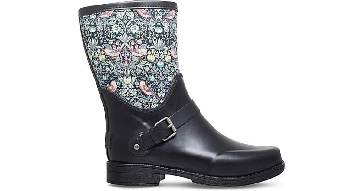 09d33f181 UGG Sivada Printed Rubber Boots in Black - Lyst