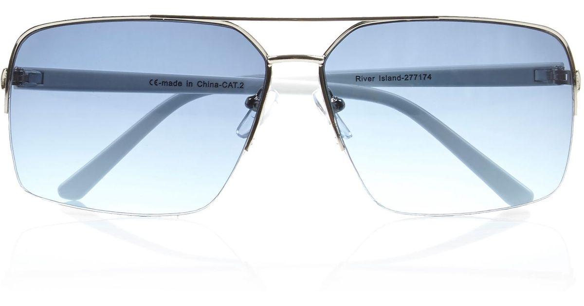 7b044548ca1 River Island Silver Tone Rimless Aviator Sunglasses in Blue for Men - Lyst