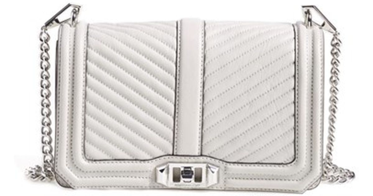 aa7d47af7b Lyst - Rebecca Minkoff Chevron Quilted Love Cross-Body Bag in Gray