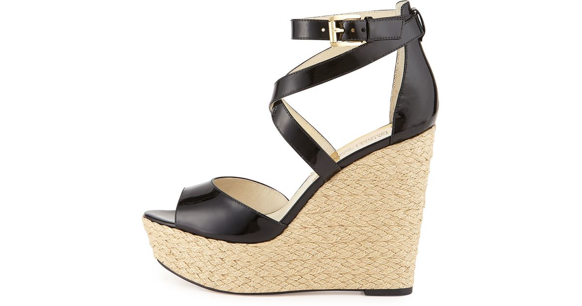 1dbaafafc28 Lyst - MICHAEL Michael Kors Gabriella Patent-Leather Wedge Sandals in Black