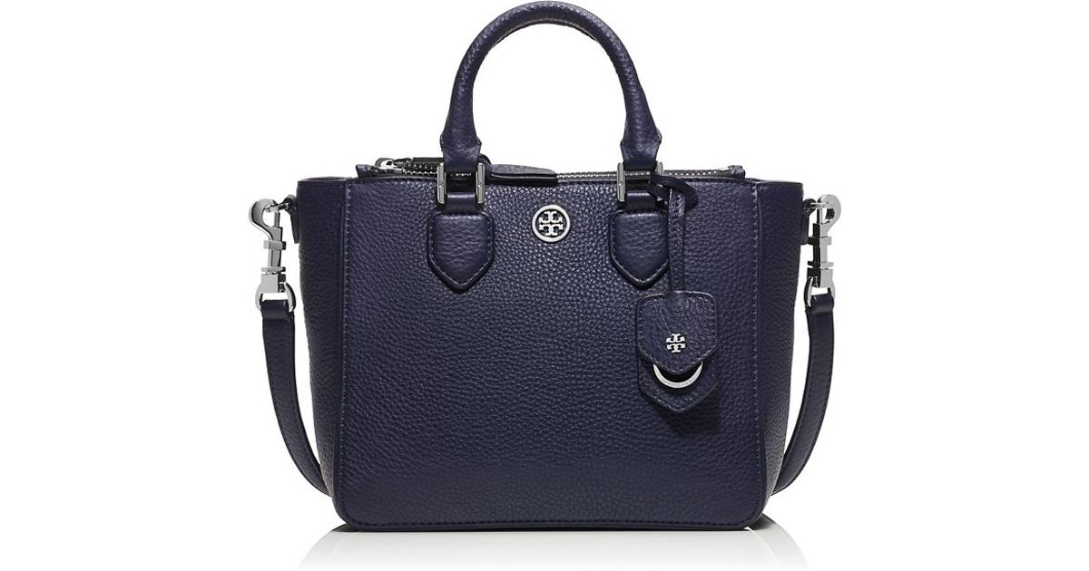 87054be07b826 Lyst - Tory Burch Robinson Pebbled Mini Square Tote in Blue