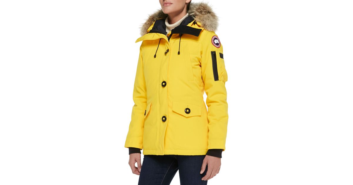 Lyst - Canada Goose Montebello Fur-Trimmed Shell Down Parka Jacket in Yellow