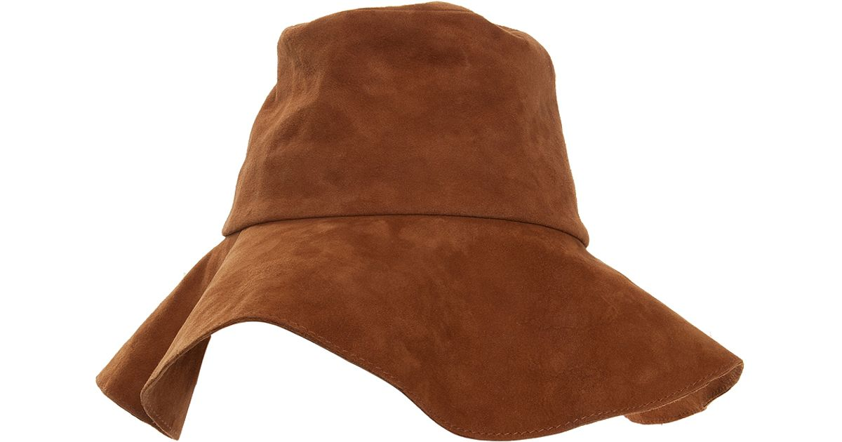 Lyst - Paul   Joe Suede Floppy Hat in Brown e0e932a55b3