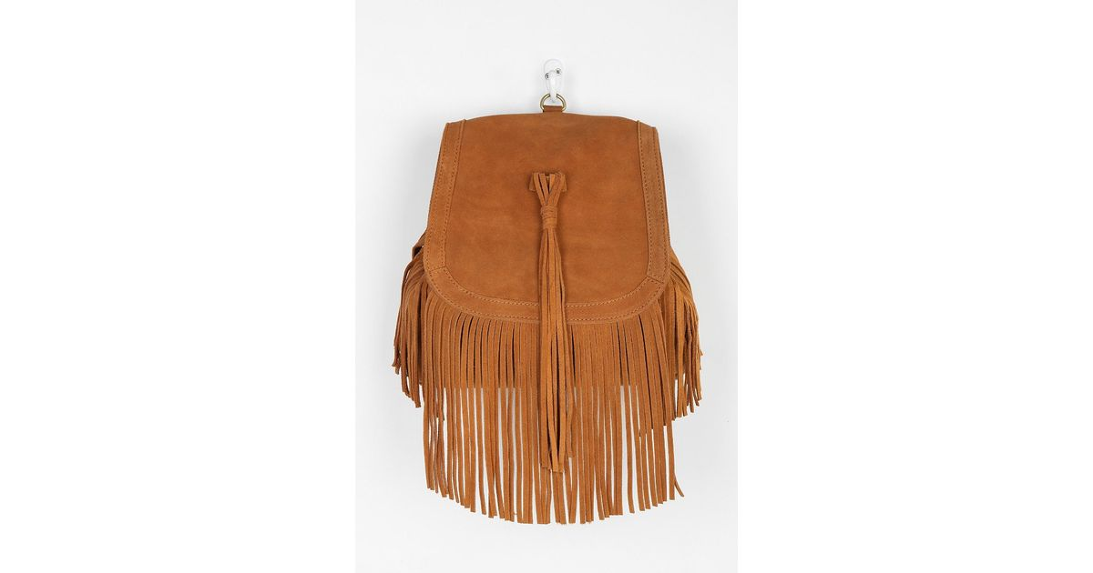 b465199d17 Lyst - Urban Outfitters Angela Suede Fringe Backpack in Brown