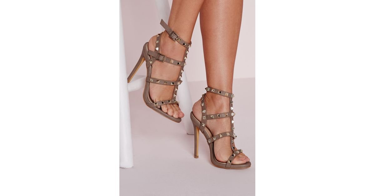 82f74d5f273 Lyst - Missguided Studded Heeled Gladiator Sandals Taupe