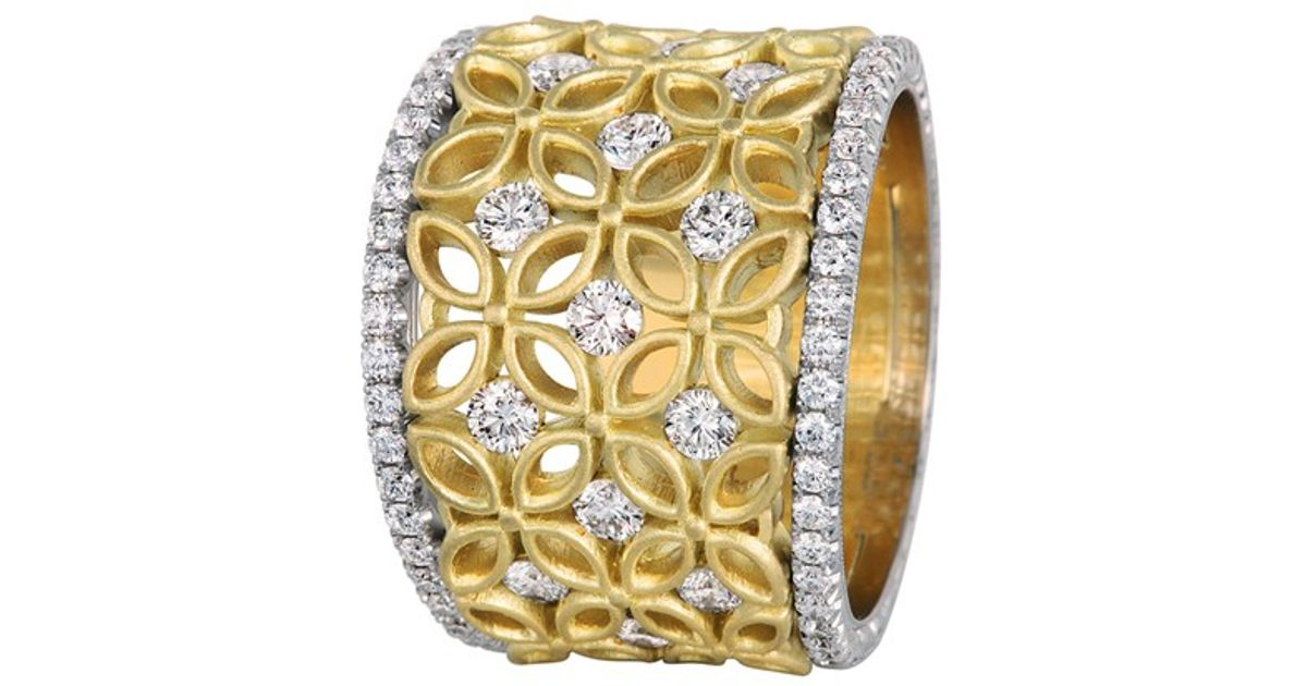 diamond ring shop jewelry yellow bands wide flower products rings band vintage estate wanelo karat best gold cigar on