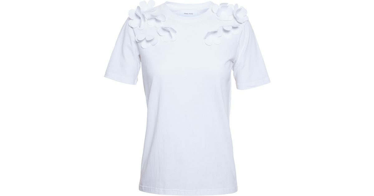 Simone rocha t shirt with floral appliqué in white lyst
