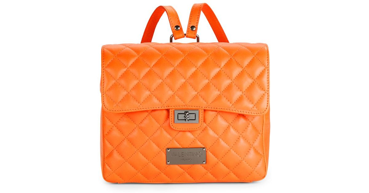 Lyst - Valentino by mario valentino Quilted Leather Backpack in Orange