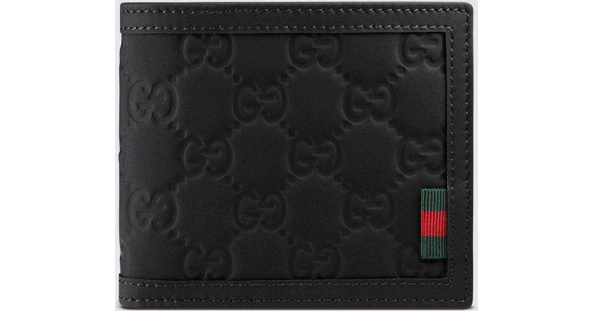 203128e61a19 Lyst - Gucci Rubber Ssima Leather Bi-fold Wallet in Black for Men