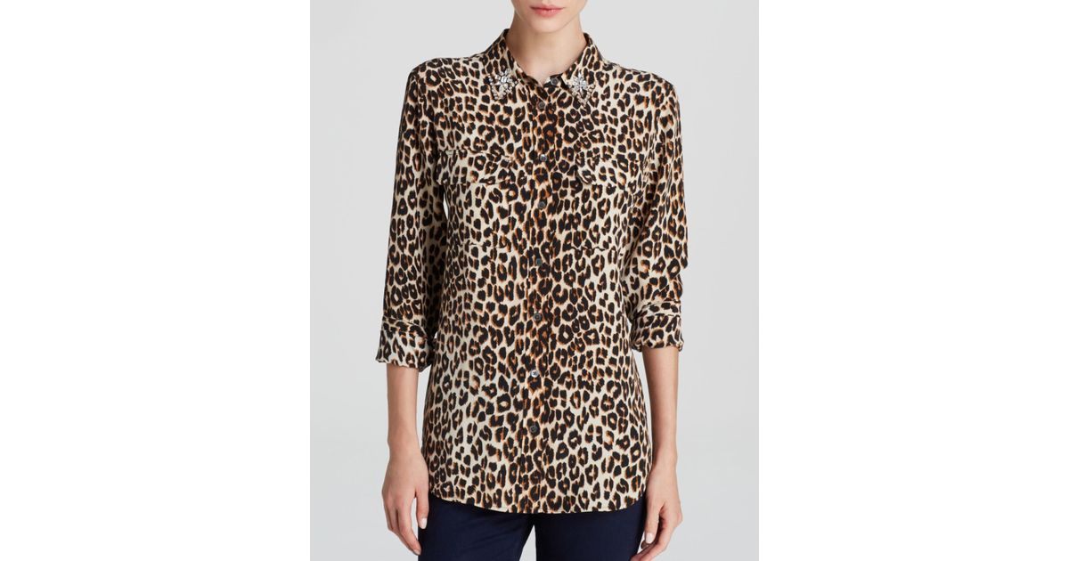d4ee8348739e9 Lyst - Equipment Leopard Print Slim Signature Jewel Collar Silk Blouse -  Bloomingdale s Exclusive in Natural
