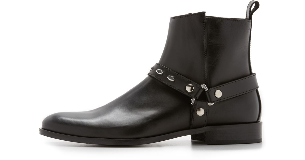 just cavalli leather boots with hexagonal studs in black