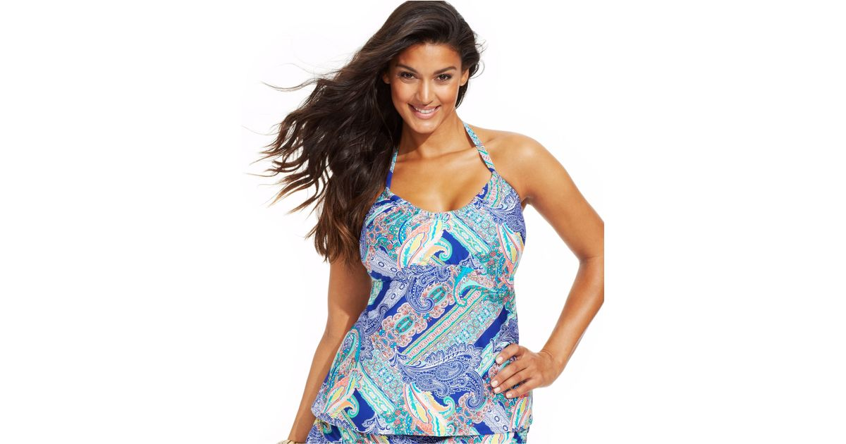 6baad147509 Lyst - Kenneth Cole Reaction Plus Size Paisley-Print Halter Tankini Top in  Blue
