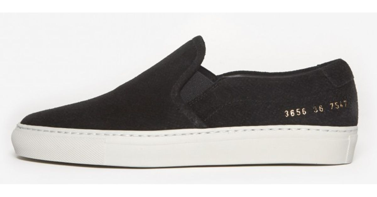 Lyst - Common Projects Suede Slip On in Black 184a2911eec5