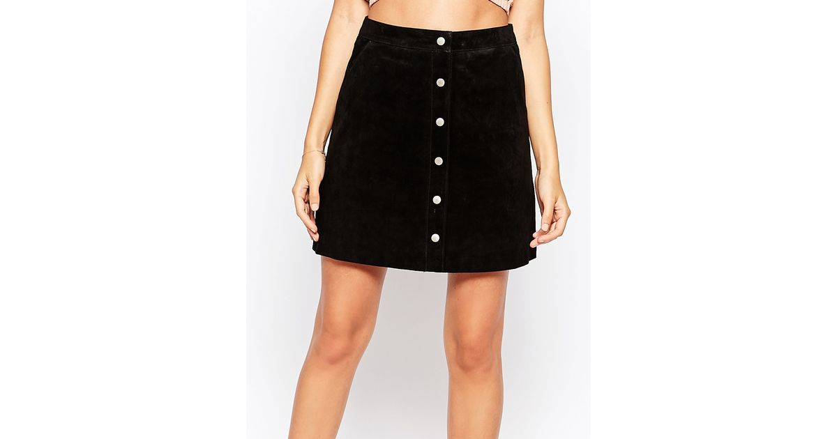 warehouse suede a line skirt in black lyst