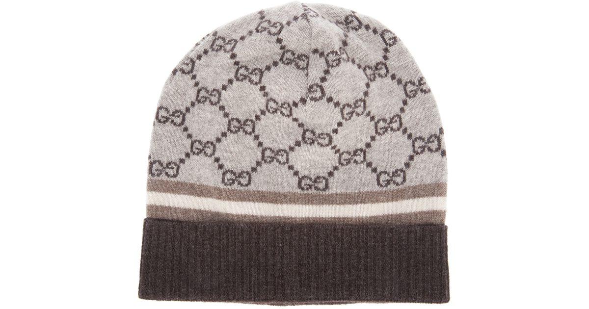 668812ab4d29 Lyst - Gucci Monogram Beanie Hat in Natural