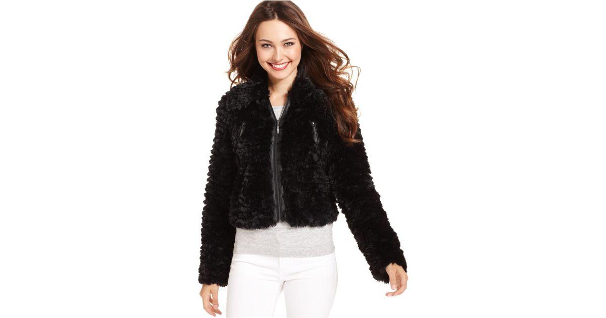 Lyst - Kensie Long-Sleeve Faux-Fur Jacket (Only At Macyu0027S) in Black