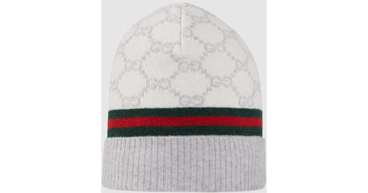 Lyst - Gucci Gg Pattern Hat With Web Detail in White for Men dec9f19f600b