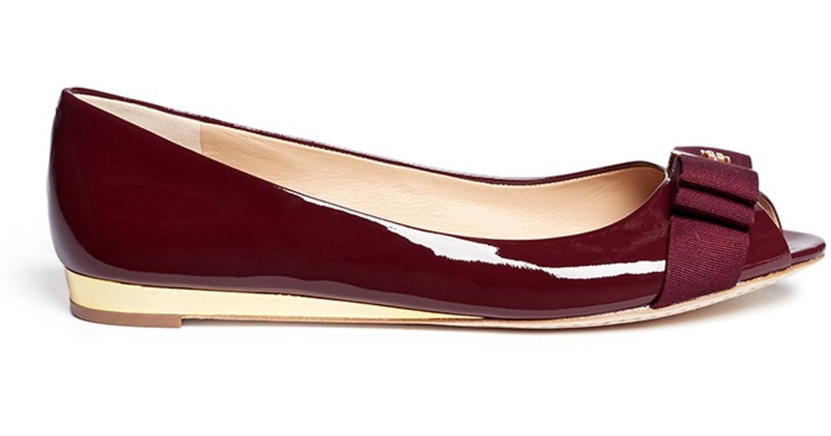 270ac7cdc low price tory burch black flats 6dfb3 becc1; purchase lyst tory burch  trudy patent leather open toe flats in red a6871 ecb67