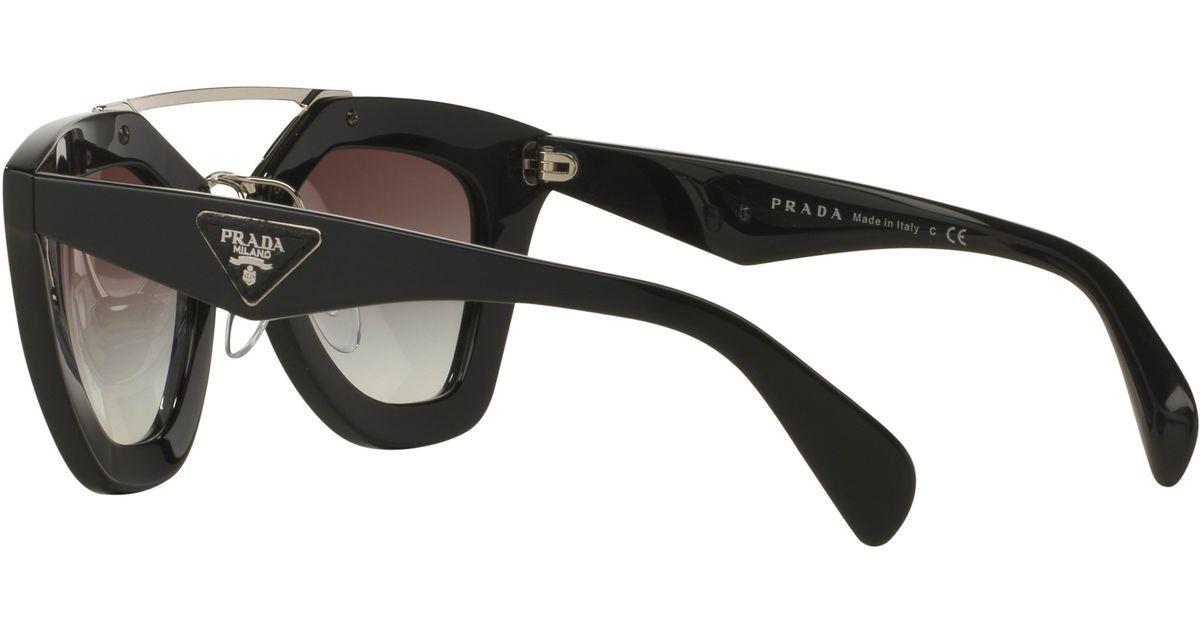 7858688a0a Prada Pr14ss D-frame Sunglasses in Black - Lyst