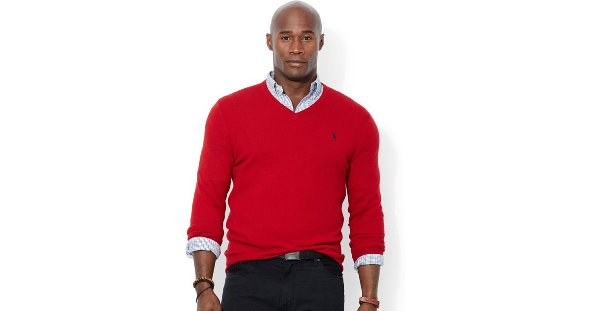 Polo ralph lauren Big And Tall Merino Wool V-Neck Sweater in Red ...