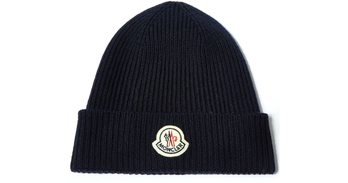 6d45492fdfd ... buy moncler navy ribbed knit wool beanie hat in blue for men lyst 7dc21  9626c