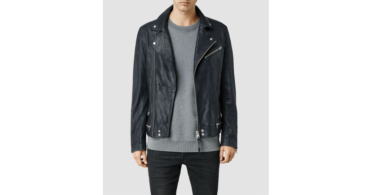 Lyst Allsaints Arrow Leather Biker Jacket In Blue For Men